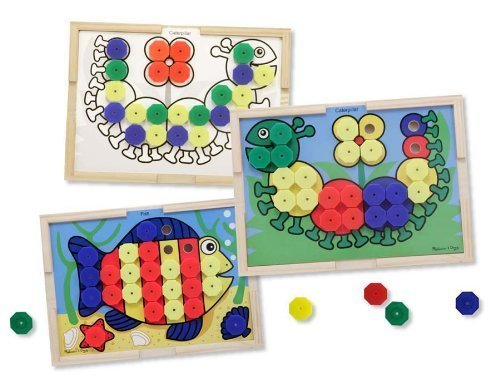 Melissa & Doug Sort and Snap Color Pairing Activity Board & 1 Scratch Art Mini-Pad Bundle (04313)