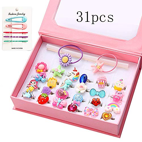 24Pcs Little Girls Jewelry Rings with Box, Little Girls Rings Adjustable, Kids Rings for Girls, Girl Pretend Play and Dress up Rings no Duplication, Little Girls Gift with snap Hair Clips/Hair tie