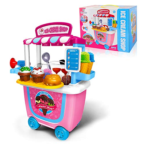 Gizmovine Ice Cream Girl Toys Pretend Play Ice Cream cart Play Food Set Truck Ice Cream Games Kids Toys for 2,3,4,5,6 Year Old Girl Gifts 31PCS
