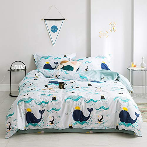 Cartoon Queen Size Bedding Set Whale Girls Bed Comforter Cover Queen Penguin Cotton Duvet Cover with Pillow Cases for Kids Boys Blue Bed Bedding Sets 3 Pieces Turtle Teens Quilt Cover, No Comforter