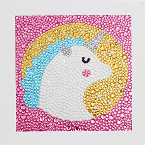 Bestlus DIY Kids Diamond Painting by Number Kits Arts and Crafts Kits for Children (Unicorn, 15x15CM)