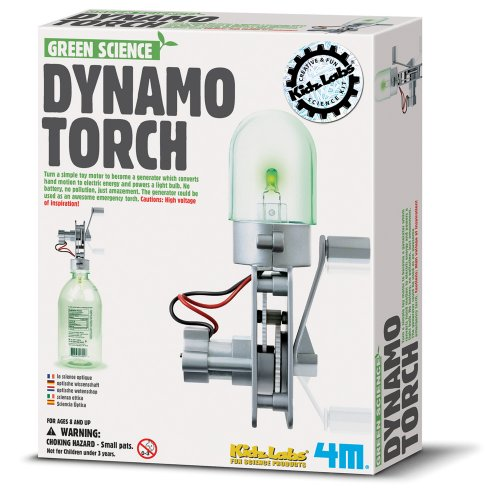 4M Green Science Dynamo Torch - DIY Mechanical Green Alternative Energy Lab - STEM Toys Educational Gift for Kids & Teens, Girls & Boys
