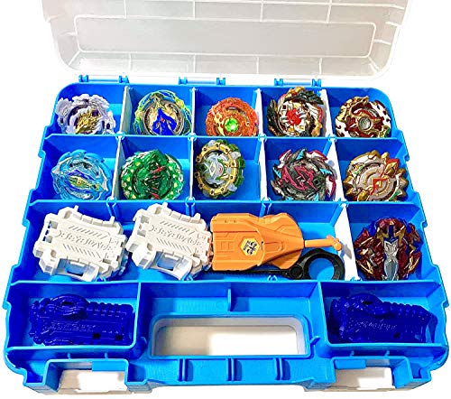HOME4 Double Sided BPA Free Toy Display Storage Container Box - Compatible with Beyblade, Mini Toys, Small Dolls, Tools - Heavy Duty Organizer Carrying Case - 34 Adjustable Compartments