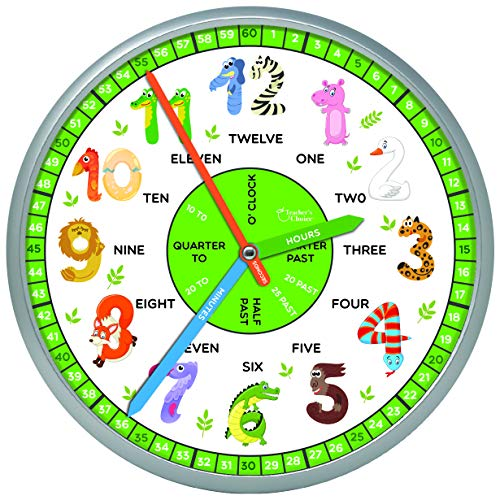 Educational Wall Clock - Silent Movement Time Teaching Clock for Teacher's Classrooms and Kid's Bedrooms, Animals