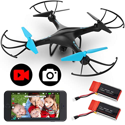 Force1 U45WF Drones with Camera for Adults and Kids - VR Capable WiFi Drone, Remote Control FPV Drone with 720p HD Camera and 2 Drone Batteries