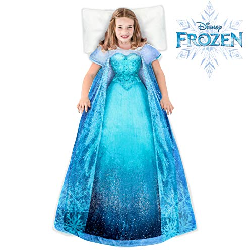 Blankie Tails | Disney Frozen Wearable Blanket - Frozen Disney Movie Double Sided Super Soft and Cozy Disney Blanket Minky Fleece Blanket (56'' H x 30' W (Kids Ages 5-12), Frozen 1 - Elsa Dress)