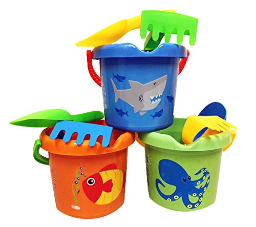 Charmed Kids Beach Sand Toy Buckets pails Set with rakes, and Scoops. (3 Color sea Animal)