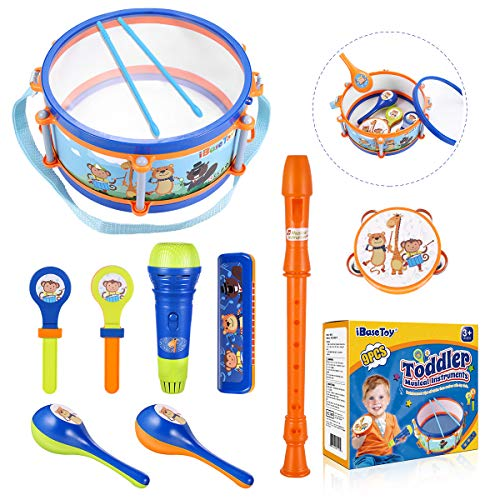 iBaseToy Kids Musical Instruments Toys, Kids Drum Percussion Set with Tambourine, Maraca, Harmonica, Flute, Hand Clappers, Mic Toys, Preschool Educational Learning Musical Toys Gift for Boys Girls