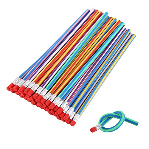DECORA 50pcs Soft Flexible Bendy Pencils Kids Children School Fun Equipment Novelty Easter Toys Pack of 50