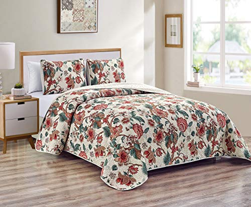 Kids Zone Home Linen 2 Piece Twin/Twin Extra Long Over Size Bedspread Set Floral Design Red Brown Green Branches Leaves