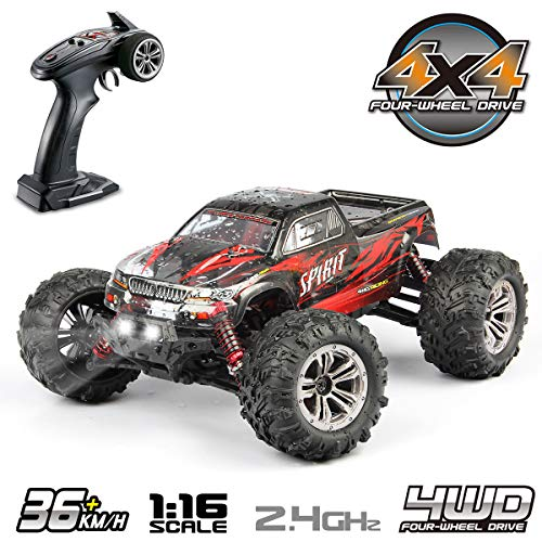 Hosim 1:16 Scale 4WD 36km/h High Speed RC Truck 9135 Remote Control RC Car 2.4Ghz Radio Controlled Off-Road RC Monster Truck RTR Hobby Car Buggy for Kids Adults (Red)