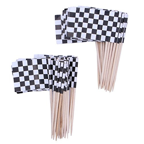 iMagitek 100 Pack Checkered Racing Flag Picks Food Fruit Toothpicks Cupcake Toppers Party Decorations Cocktail Sticks for Themed Party Decorations