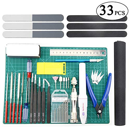 BXQINLENX Professional 33 PCS Gundam Model Tools Kit Modeler Basic Tools Craft Set Hobby Building Tools Kit for Gundam Car Model Building Repairing and Fixing (J)