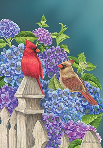 Briarwood Lane Cardinals and Hydrangeas Spring Garden Flag Fencepost Floral Birds 12.5