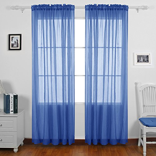 Deconovo Crushed Voile Rod Pocket 2 Panels Sheer Curtains for Living Room, 42x63 Inch, Royal Blue