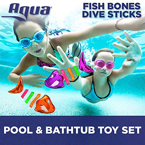 Aqua Fish Bones Shimmering Dive Sticks, 3 Piece Set, Toss, Dive & Retrieve, Pool Toy, Ages 5 and Up