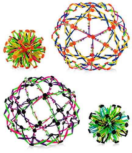 4E's Novelty Expandable Ball Fidget Sphere Toy (4 Pack) Expanding Stress Relief Breathing Ball Toys for Kids & Adults - for Anxiety, Yoga, Deep Breathing, ADHD - Expands from 5.6