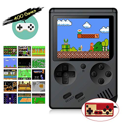 Retro FC Handheld Game Console with 400 Classic Games for Kids Adult, 3 Inch HD Screen FC Video Game Console with Much Childhood Fun, Support TV Output 2 Player & USB Rechargeable Battery