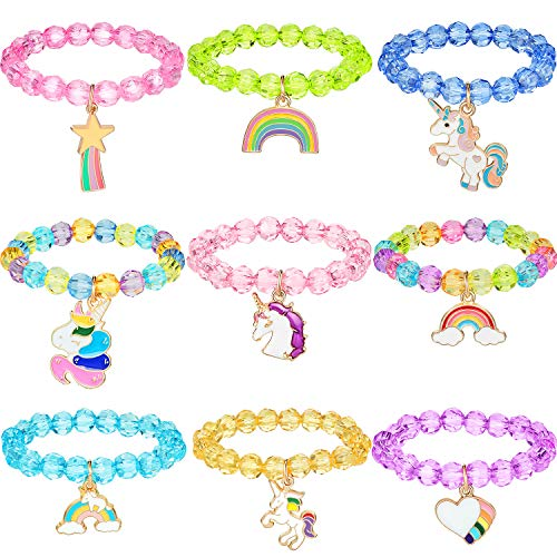 Hicarer 9 Pieces Colorful Unicorn Bracelet Girls Unicorn Bracelets Rainbow Unicorn Beaded Bracelet for Birthday Party Favors (Crystal Style)