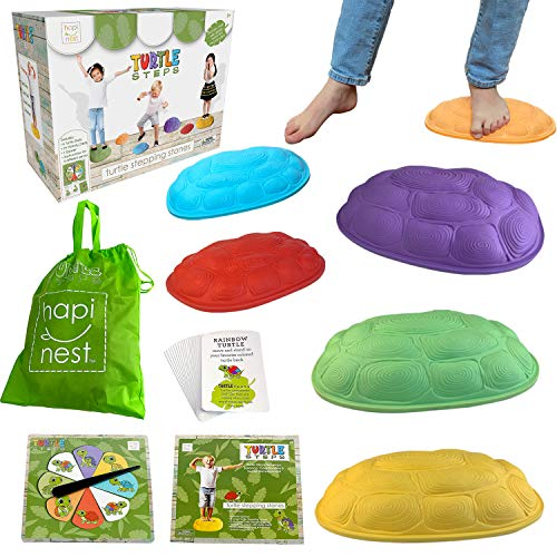 Hapinest Turtle Steps Balance Stepping Stones Obstacle Course Coordination Game for Kids - Indoor or Outdoor Play Equipment Toys Toddler Ages 3 Years and Up