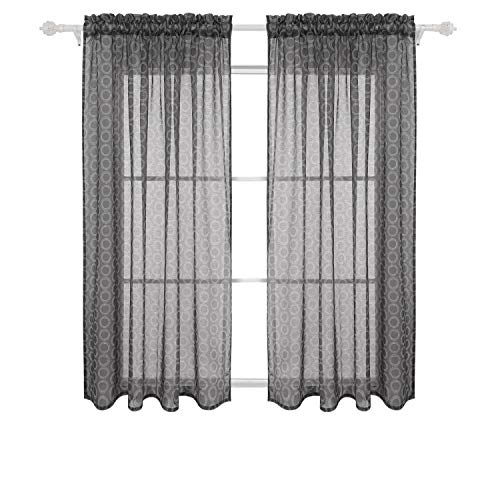 Deconovo Drapes 63 Inch Length Rod Pocket Window Curtains Circle Printed Sheer for Kids Room, 52x63, Dark Grey
