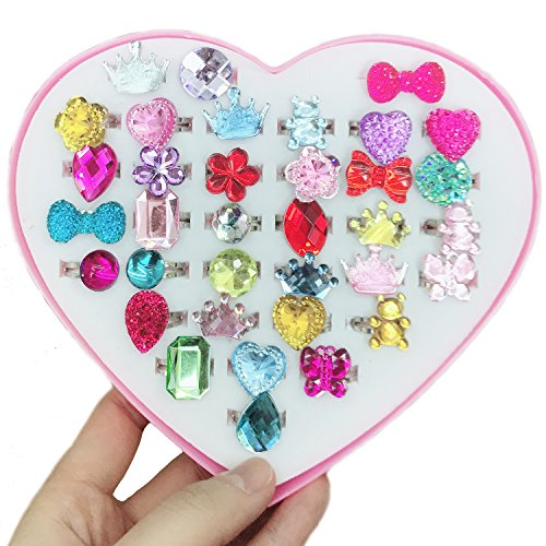 Elesa Miracle 36pcs Kids Girl Adjustable Jewelry Rings, Girl Rhinestone Diamond Rings Pretend Play and Dress up Toy Rings