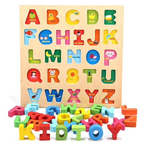 Jamohom Wooden 26 Alphabet Letters, ABC Puzzles Board for Toddlers 3-5 Years Old,Educational Toys Baby Learning Uppercase Alphabet Jigsaw Game for Boy and Girl Gifts