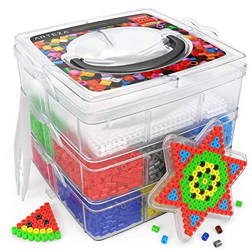 ARTEZA Iron Beads for Kids, 5mm, 10,000 Beads, 12 Colors, Fuse Beads Kit with 5 Pegboards, 2 Tweezers & 5 Ironing Papers in a 3-Tier Container for Making DIY Crafts
