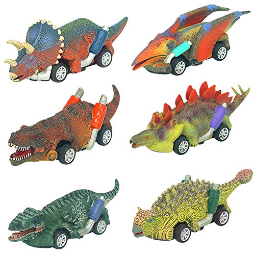 Dinosaur Toys for 2-10 Year Old Boys-Toy Cars Kids Boys Toys Age 2 3 4 5 6 +boy Toys Mini Animals Figures for Boys Toddler 6 Pack Pull Back Cars Dinosaurs Party Favor Gifts for Boys 2-10 Age