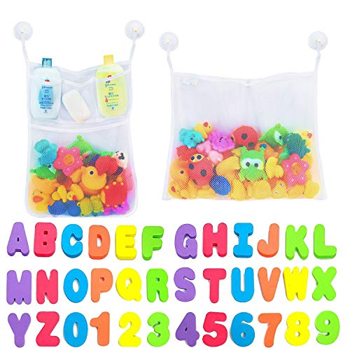 Comfylife 2 x Mesh Bath Toy Organizer + 6 Ultra Strong Hooks + 36 Bath Letters & Numbers – Eco-Safe, Fun, Educational Foam Baby Bath Letters and Perfect Toy Storage Net for Baby Bath Toys & More