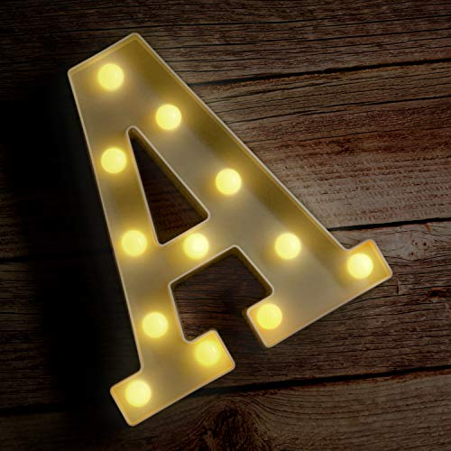 Novelty Place Alphabet Light - Marquee Letters Sign with Shining Bulbs, Standing Night Lamp for Wedding Home Party Bar D�cor - Battery Powered, Warm White (Letter A)
