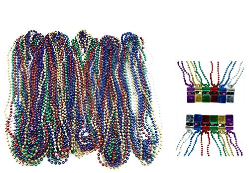 72 Necklace 33 inch 07mm Metallic Multi Colors Mardi Gras Beads Beaded Necklace with Whistles