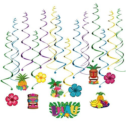 Unomor Hawaiian Decorations, 30PCS Hanging Swirl Foil Decor for Luau Party Supplies, Hawaiian Party Decorations, Moana Party D�cor, Summer Beach Party