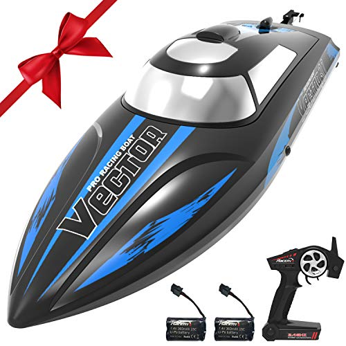 VOLANTEXRC Remote Control Boat for Pools and Lakes, 19mph High Speed RC Boat for Kids and Adults, 2.4Ghz Racing Ship with Self-righting, Reverse for Boys and Girls (795-3 Black)