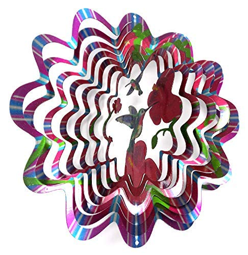 WorldaWhirl Whirligig 3D Wind Spinner Hand Painted Stainless Steel Twister Hummingbird (6.5