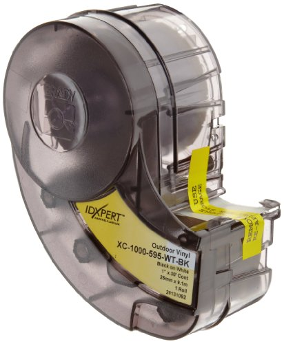 Brady High Adhesion Vinyl Label Tape (XC-1000-595-WT-BK) - Black on White Vinyl Film - Compatible with IDXPERT and LABXPERT Label Printers - 30' Length, 1