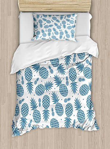 Ambesonne Pineapple Duvet Cover Set, Island Themed Minimalistic Multi-Sized Tropic Fruity Pineapple Printed Vintage, Decorative 2 Piece Bedding Set with 1 Pillow Sham, Twin Size, Blue