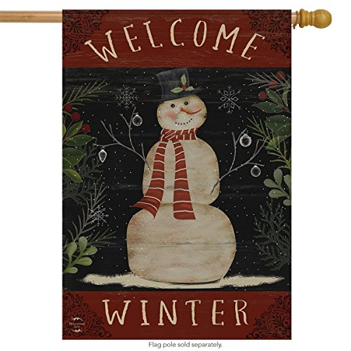 Briarwood Lane Welcome Winter Snowman House Flag Primitive Seasonal 28