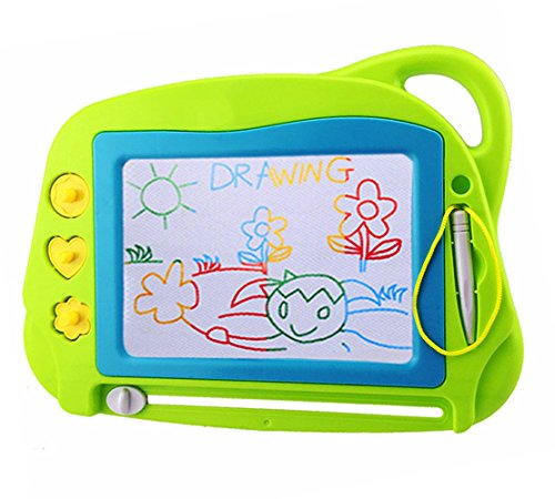 AiTuiTui Magnetic Drawing Board Mini Travel Doodle, Erasable Writing Sketch Colorful Pad Area Educational Learning Toy for Kid / Toddlers/ Babies with 3 Stamps and 1 Pen (Green)