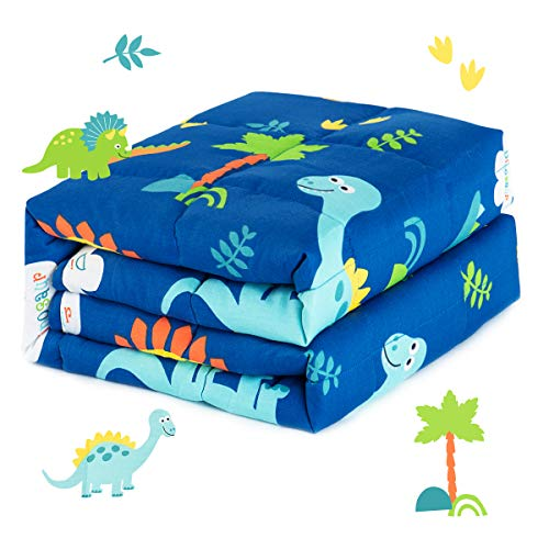 Sivio Kids Weighted Blanket, 3lbs, 36 x 48 inches, 100% Natural Cotton Heavy Blanket for Kids and Teens, Blue Dinosaur