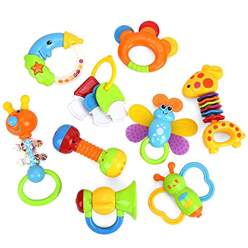 Baby Toys Rattles Teether and Shakers 9 PCS, Baby Newborn Gift Set for Hand Development Early Educational Toys for 3, 6, 9, 12 Month Newborn Toddler