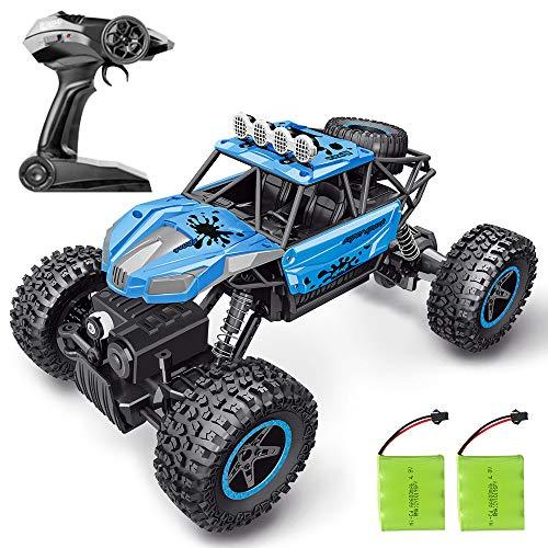 RC Car, SHARKOOL 2020 Updated 2.4Ghz 4WD 1/16 Scale RC Trucks Rc Crawlers Remote Control Car with Two Rechargeable Batteries, Off Road Vehicle for Kids & Adults, Blue