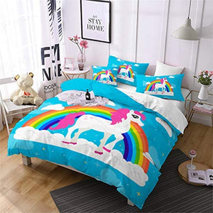 Jessy Home Unicorn Bedding 3 Pieces Full Size Cartoon Duvet Cover Kids Girls Rainbow Unicorn Quilt Cover Animal Pattern Cute Unicorn Duvet Cover +2 Pillowcase,Blue