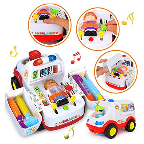 HANMUN Ambulance Toy Medical Kits Kids - 2020 Medical Play Kit Ambulance Toy with Lights and Sound Toddlers Euipment Rescue Vehicle Bump & Go …