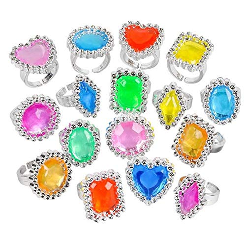 Rhode Island Novelty Plastic Jewel Rings, 24 Count Assortment