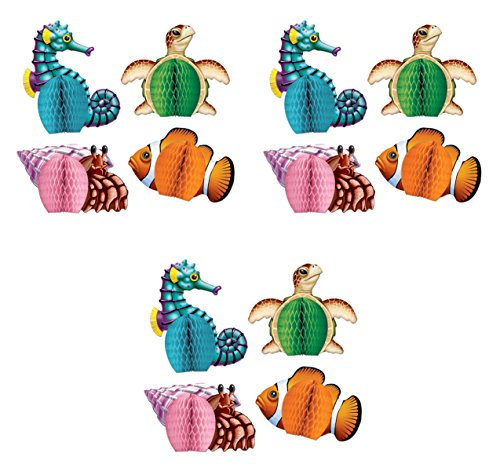 Beistle Sea Creatures Mini Centerpieces, Multicolored, 12 Piece