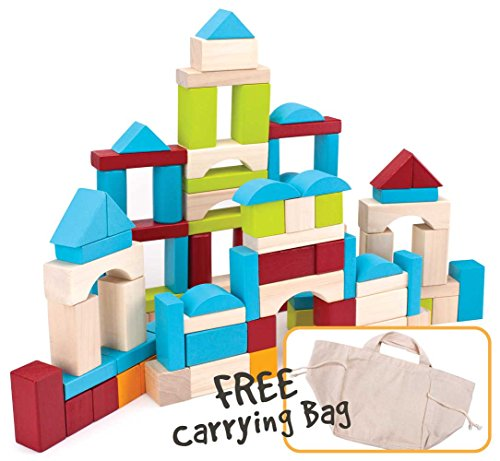 Imagination Generation 100 Piece Natural Wooden Building Block Set with Carrying Bag – Children's Deluxe Stacking Toy Set