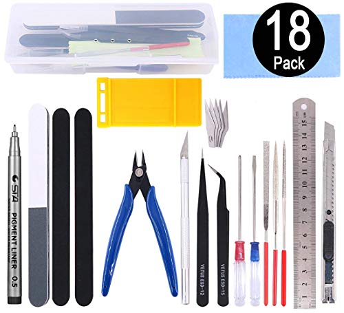 Esoca 18Pcs Gundam Model Tool Kit Gundam Modeler Basic Tools Craft Set Hobby Building Tools with Box for Basic Model Building, Repairing and Fixing