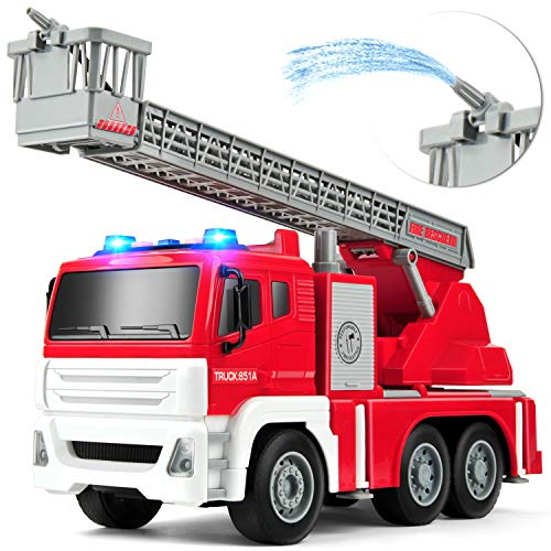 Gizmovine Fire Trucks for Boys Friction Power with Water Pump, Fire Engine Toys Emergency Vehicle with Lights and Sounds Pull Back Construction Toys Vehicles for Toddlers 4, 3, Year Old, 1:14 Scale