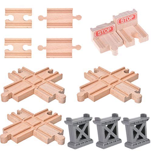 Ioffersuper 12 pcs Wooden Train Track Set, Male-Male Female-Female Bump Track,Bridge Pier Track(Random Color),Cross Track and Stop Track Compatible with All Major Brands (Mix)